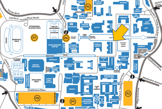 Map of UCLA campus with arrow pointing to Kaplan Hall
